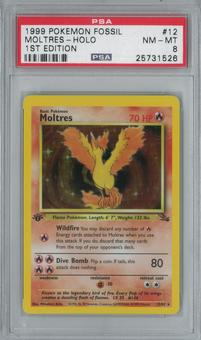Pokemon Fossil Moltres 12/62 1st Edition Single PSA 8