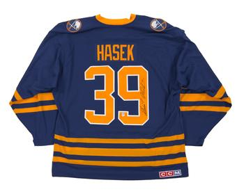 Dominik Hasek Autographed Buffalo Sabres Large Blue Hockey Jersey CCM