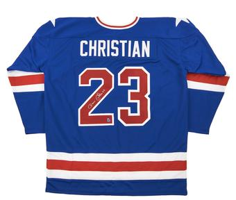 Dave Christian Autographed USA Blue Hockey Jersey Miracle on Ice