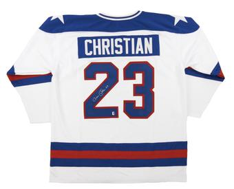 Dave Christian Autographed USA White Hockey Jersey Miracle on Ice