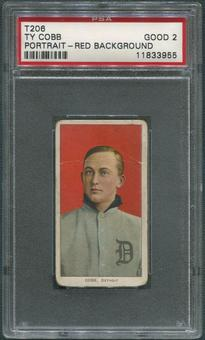 1909-11 T206 Piedmont Baseball Ty Cobb Portrait Red Background PSA 2 (GOOD)