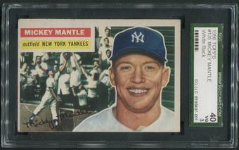 1956 Topps Baseball #135 Mickey Mantle White Back SGC 40 3 (VG)