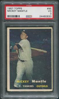 1957 Topps Baseball #95 Mickey Mantle PSA 3 (VG)