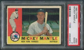 1960 Topps Baseball #350 Mickey Mantle PSA 2 (GOOD)