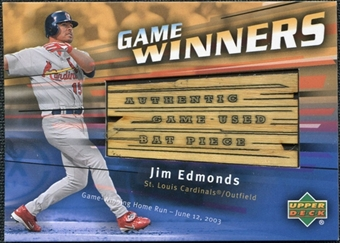 2004 Upper Deck Game Winners Bat #JE Jim Edmonds