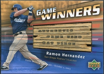 2004 Upper Deck Game Winners Bat #RH Ramon Hernandez