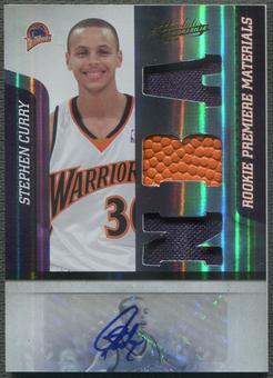 2009/10 Absolute Memorabilia #144 Stephen Curry Jersey Ball Rookie Auto #140/499