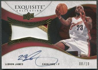 2007/08 Exquisite Collection #EELJ LeBron James Emblems of Endorsements Patch Auto #08/10