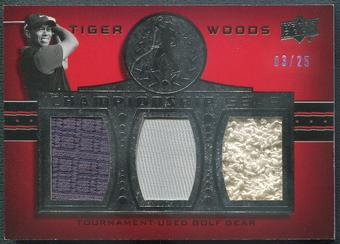2013 Upper Deck Tiger Woods Master Collection #CG7 Tiger Woods Championship Gear Shirt #03/25