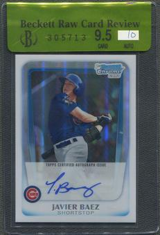 2011 Bowman Chrome Draft #JBA Javier Baez Rookie Refractor Auto #438/500 BGS 9.5 Raw Card Review