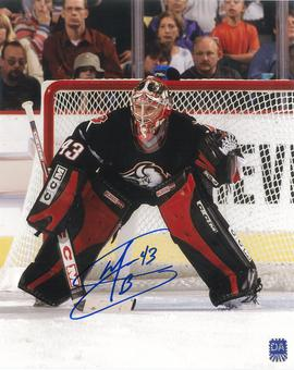 Martin Biron Autographed Buffalo Sabres 8x10 Black Jersey Photo
