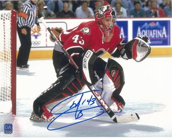 Martin Biron Autographed Buffalo Sabres 8x10 Red Jersey Photo