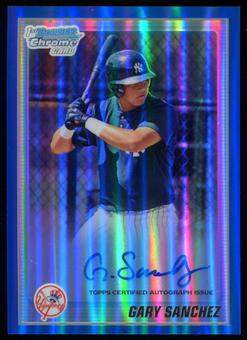 2010 Bowman Chrome Prospects #BCP207B Gary Sanchez Blue Refractor Rookie Auto #052/150
