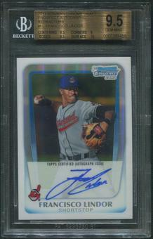 2011 Bowman Chrome Draft #FL Francisco Lindor Refractor Rookie Auto #135/500 BGS 9.5 (GEM MINT)
