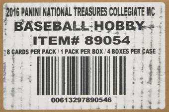 2016 Panini National Treasures Collegiate Baseball Hobby 4-Box Case