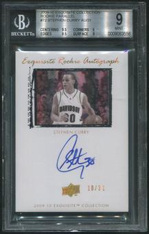 2009/10 Exquisite Collection #72 Stephen Curry Rookie Parallel Auto #10/31 BGS 9 (MINT)