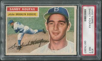 1956 Topps Baseball #79 Sandy Koufax White Back PSA 7 (NM)