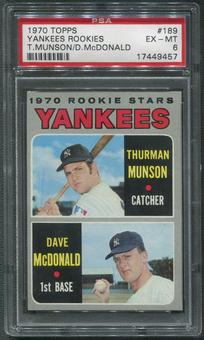 1970 Topps Baseball #189 Rookie Stars Thurman Munson Rookie PSA 6 (EX-MT)