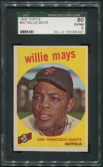 1959 Topps Baseball #50 Willie Mays SGC 80 (EX-NM 6)