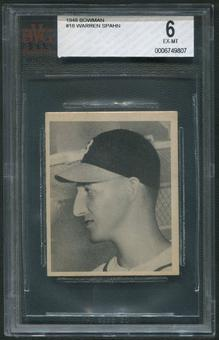 1948 Bowman Baseball #18 Warren Spahn Rookie BVG 6 (EX-MT)
