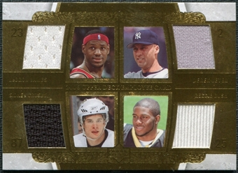 2006 Upper Deck Employee Quad Jerseys #LJDJSCRB LeBron James Derek Jeter Sidney Crosby Reggie Bush