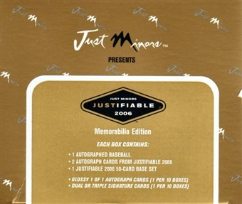 2006 Just Minors Justifiable Memorabilia Edition Baseball Hobby Box