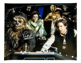 Carrie Fisher & Peter Mayhew Dual Signed 16x20 Photo (Steiner)   Star Wars  Princess Leia & Chewbacca!!