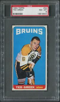 1964/65 Topps Hockey #32 Ted Green SP PSA 8 (NM-MT)