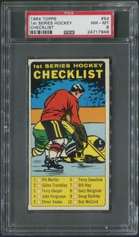1964/65 Topps Hockey #54 1st Checklist PSA 8 (NM-MT)