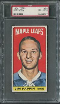 1964/65 Topps Hockey #64 Jim Pappin Rookie PSA 8 (NM-MT)