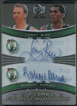 2005/06 Upper Deck Trilogy #BP Larry Bird & Robert Parish One Two Combo Clearcut Auto #49/50