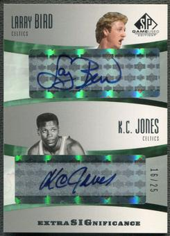 2004/05 SP Game Used #LK Larry Bird & K.C. Jones SIGnificance Duals Auto #16/25