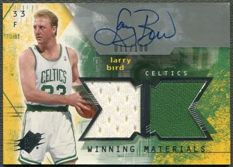 2004/05 SPx #LB Larry Bird Winning Materials Jersey Auto #011/100