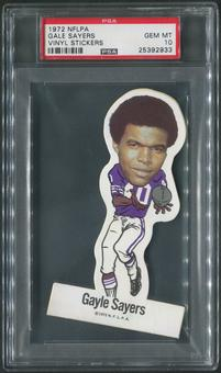 1972 NFLPA Vinyl Stickers Football #17 Gale Sayers PSA 10 (GEM MT)