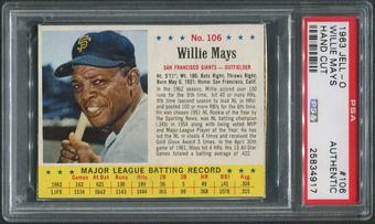 1963 Jello Baseball #106 Willie Mays PSA Authentic