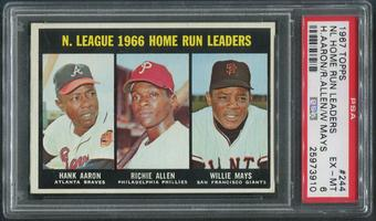 1967 Topps Baseball #244 NL Home Run Leaders Hank Aaron Richie Allen & Willie Mays PSA 6 (EX-MT)