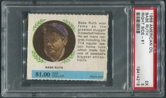 1968 American Oil Winners Circle Baseball #10 Babe Ruth Right Side PSA 5 (EX)