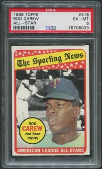 1969 Topps Baseball #419 Rod Carew All Star PSA 6 (EX-MT)