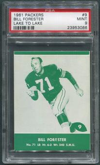 1961 Packers Lake to Lake Football #9 Bill Forester PSA 9 (MINT)