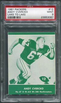 1961 Packers Lake to Lake Football #12 Andy Cvercko PSA 9 (MINT)