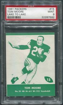 1961 Packers Lake to Lake Football #15 Tom Moore PSA 9 (MINT)