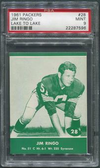 1961 Packers Lake to Lake Football #28 Jim Ringo PSA 9 (MINT)