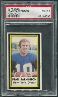 1971 Dell Photos Football #44 Fran Tarkenton Hand Cut PSA 9 (MINT)