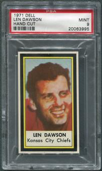 1971 Dell Photos Football #13 Len Dawson Hand Cut PSA 9 (MINT)