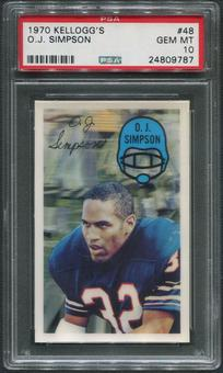 1970 Kellogg's Football #48 O.J. Simpson PSA 10 (GEM MT)