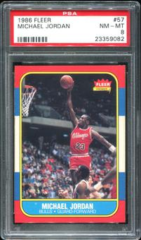 1986/87 Fleer Basketball #57 Michael Jordan Rookie PSA 8 (NM-MT) *9082