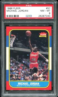 1986/87 Fleer Basketball #57 Michael Jordan Rookie PSA 8 (NM-MT) *7340