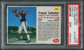 1962 Post Cereal Football #184 Fran Tarkenton Hand Cut PSA Authentic