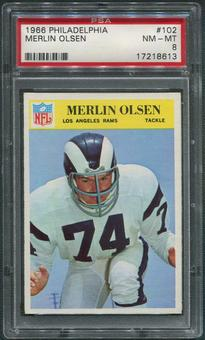 1966 Philadelphia Football #102 Merlin Olsen PSA 8 (NM-MT)