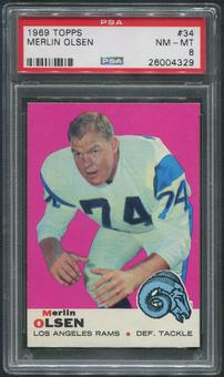 1969 Topps Football #34 Merlin Olsen PSA 8 (NM-MT)